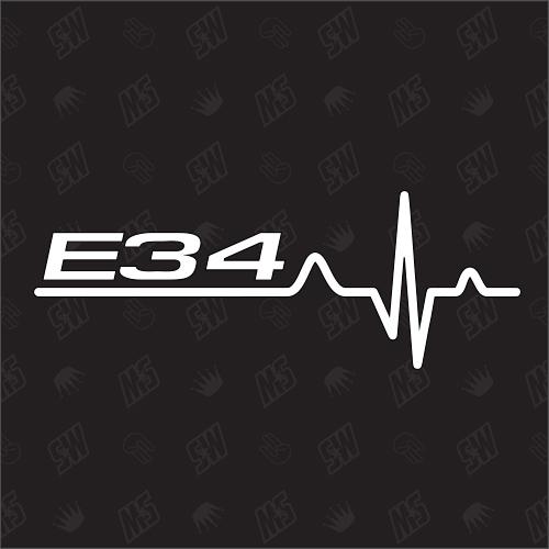 E34 Herzschlag - Sticker, Tuning Fan Aufkleber, BMW