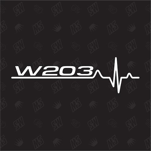 W203 Herzschlag - Sticker kompatibel mit Mercedes Benz