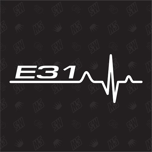 E31 Herzschlag - Sticker, Tuning Fan Aufkleber, BMW