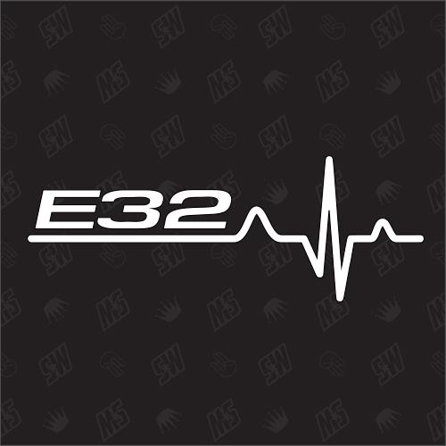 E32 Herzschlag - Sticker, Tuning Fan Aufkleber, BMW