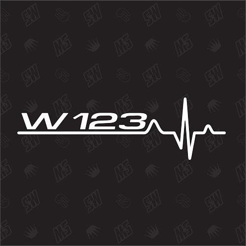 W123 Herzschlag - Sticker kompatibel mit Mercedes Benz