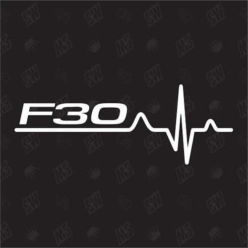 F30 Herzschlag - Sticker, Tuning Fan Aufkleber, kompatibel mit BMW