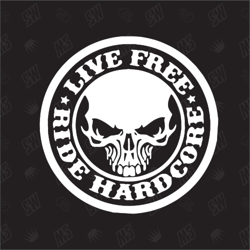 Biker Skull - Ride Hardcore - Sticker