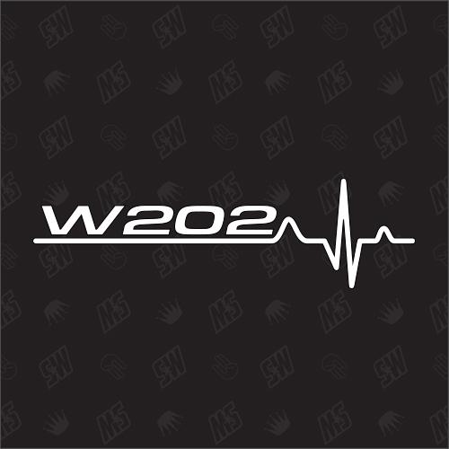 W202 Herzschlag - Sticker kompatibel mit Mercedes Benz