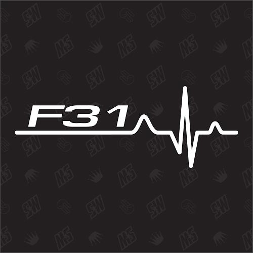 F31 Herzschlag - Sticker, Tuning Fan Aufkleber, BMW