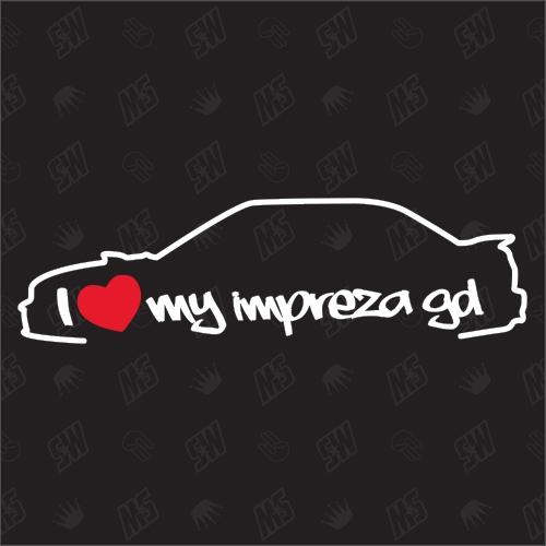 I love my Subaru Impreza GD Limousine Silouette - Sticker BJ 2000 - 2002