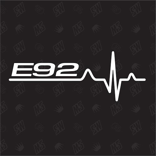 E92 Herzschlag - Sticker, Tuning Fan Aufkleber, BMW