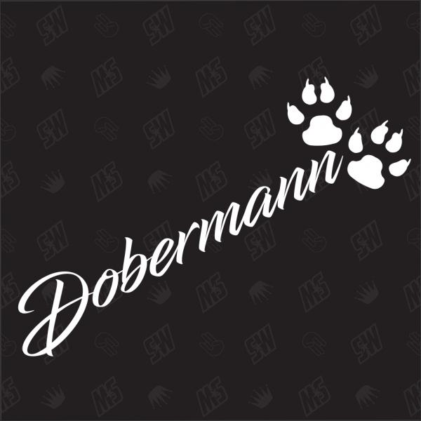 Dobermann - Sticker, Hundesticker, Pfoten