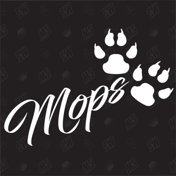 Mops - Sticker, Hundesticker, Pfoten