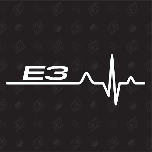 E3 Herzschlag - Sticker, Tuning Fan Aufkleber, BMW