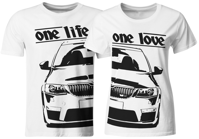 one life one love partner t shirts skoda octavia 5e rs. Black Bedroom Furniture Sets. Home Design Ideas