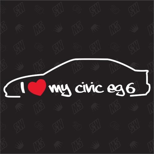 I love my Honda Civic EG6 Silouette - Sticker BJ 1991-1995