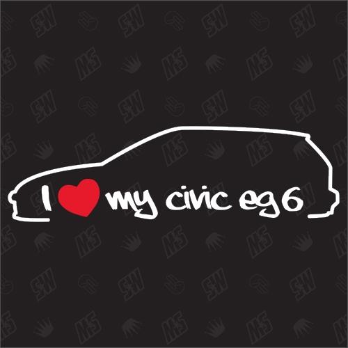 I love my Honda Civic EG6 Hatchback Silouette - Sticker BJ 1991-1995