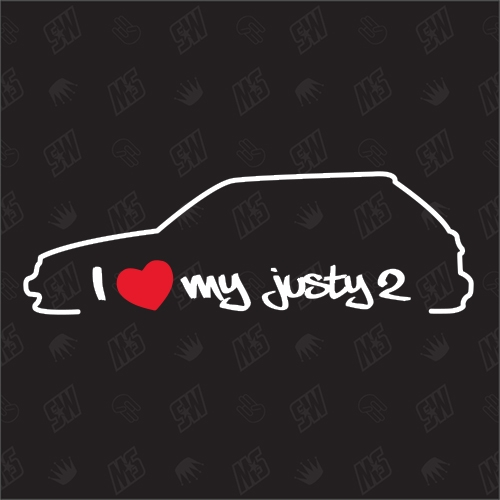 I love my Subaru Justy 2. Generation Silouette - Sticker BJ 1989 - 1995