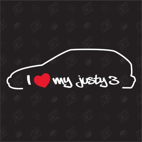 I love my Subaru Justy 3. Generation Silouette - Sticker BJ 1995 - 2003
