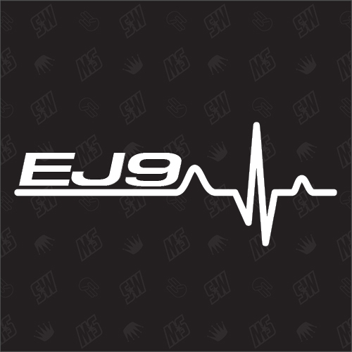 EJ9 Herzschlag - Sticker kompatibel mit Honda