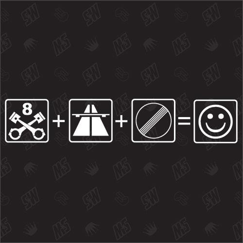 8 Zylinder + Autobahn + frei = Smile - V8 Sticker