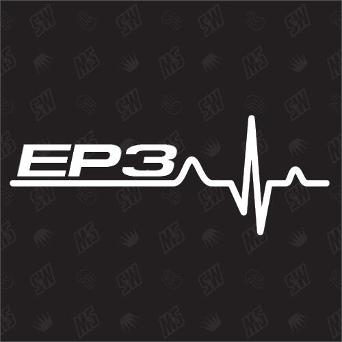 EP3 Herzschlag - Sticker kompatibel mit Honda